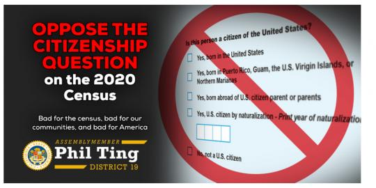 Ting Urges Californians to Oppose Citizenship Question on 2020 Census Form