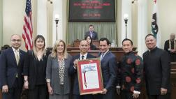 Assemblyman Ting Escorting Chef James Syhabout API Honoree During Floor Presentation