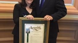Assemblymember Phil Ting and Rabbi Carla Fenves During the Holocaust Remembrance Ceremony